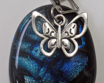Blue, Silver and Black Dichroic Fused Glass Pendant With A Silver Butterfly Charm