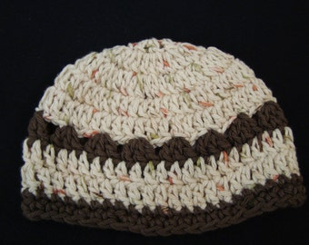 Cream and Brown Baby Hat - 3-6 Months