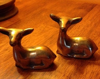 2 Solid Brass Deer Paperweight or ornament
