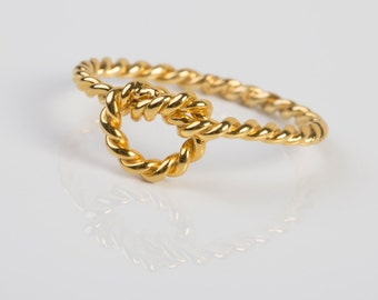 Twist  Knot Ring,SOLID  GOLD, twist love knot ring  , Wedding ring , Braidmade ring , twist and knot ring, alternative engagement ring