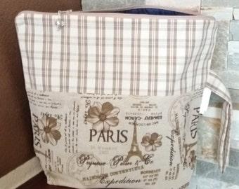 """Knitting or Crochet Project Bag """"Paris"""", 2-3 skeins size, medium- Borsa Portalavoro a maglia o uncinetto """"Paris"""", taglia media"""