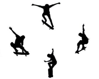 Skateboard party, Skateboard die cuts, Skateboard cutouts, Skateboard silhouette
