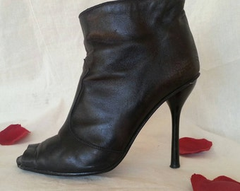 Genuine Leather Stiletto Shoes / Italian Ankle Boots/ Open Toe Peep Toe / Made in Italy