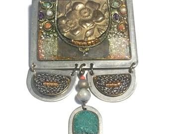 Artist Brooch, Artisian Brooch, UNIQUE CREATIVE BROOCH, Dangle Brooch, Vintage Brooch, Old Pin, One of a Kind Jewelry