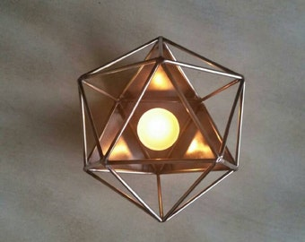 TIG welded Icosahedron candle holder.