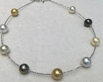 South sea pearls with 18 ct white gold necklace