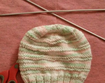 Knitted baby hat, size 0-3  months,citrus sorbet, for girl