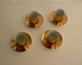 Authentic Fitz & Floyd Demitasse Set of 4 Porcelain-gold espresso coffee