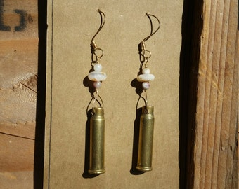 Opal and tourmaline with .17 caliber bullet casing gold earrings