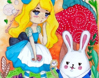 Original Alice In Wonderland Watercolor Painting
