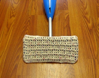 Beige Crochet Mop Cover, Duster Mop Cover, Reusable Mop Cover, Washable Duster Mop Cover