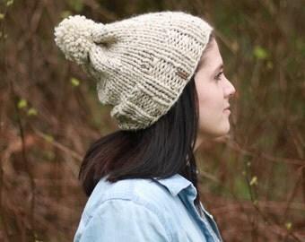 Knit slouchy pom pom winter hat/ Oatmeal