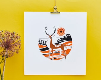 Red Stag - Limited Silkscreen Art Print