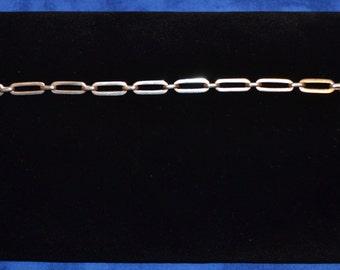 """BR-004: Vintage Solid Silver Round and Oval Link 6.5"""" Sterling Bracelet 3.8g"""