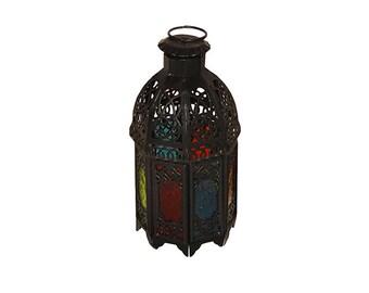Black Multi-Colour Brass Candle Lantern