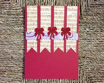 Music theme christmas card, handmade greeting card