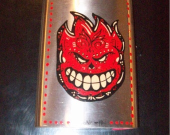 Spitfire Flask  Monster flask , hand painted Flasks, Monster Blue and Green, punk, retro