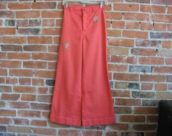 """Vintage 70s High Waist Bell Bottom Denim Jeans, Pants // """"Dittos"""" // Melon Red, Colored Denim // X-Small 25"""" W"""