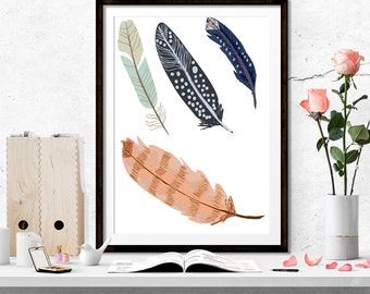 Feathers, Print, Decor, Home Decor,