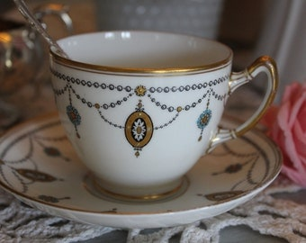 Paragon (star): RARE!! Art Déco tea cup and saucer, white, black and gold