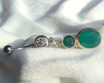 Green Agate Belly Ring in Sterling Silver Mounting
