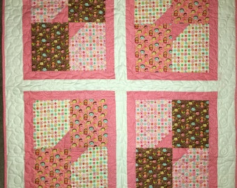 Pink Owls Baby Quilt