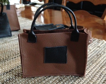 "SALE! The ""London Shopper"" Handcrafted Top quality leather shopping tote for your American Girl doll excursions! Each is one of a kind!"