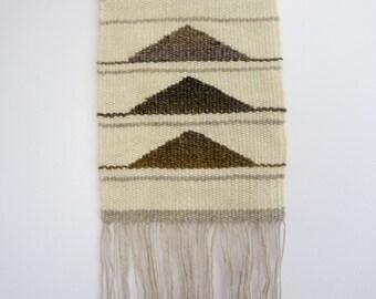Modern Weaving Neutral Ombre Geometric Triangle Weaving - Hand Woven Wall Hanging Tapestry - Fiber Art Wall Decor - Fringe Modern Home Decor