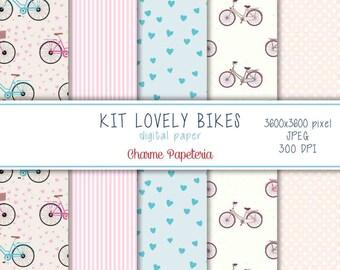 SALE Lovely bikes digital paper pack