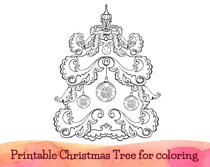 Printable Whimsical Christmas Tree For Coloring Christmas Whimsical Tree Coloring Page