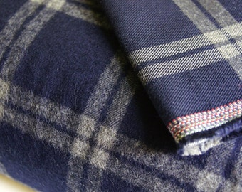 Japanese Blue Grey Cotton Plaid Flannel Fabric by 1/4 Metre, Plaid Fabric, Reversible Cotton Flannel Fabric, Yarn Dyed Flannel Fabric