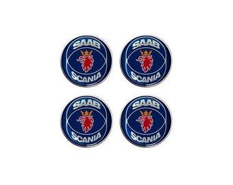 Saab Scania Resin / Gel Domed Self Adhesive Wheel Centers Set of 4 x 70mm