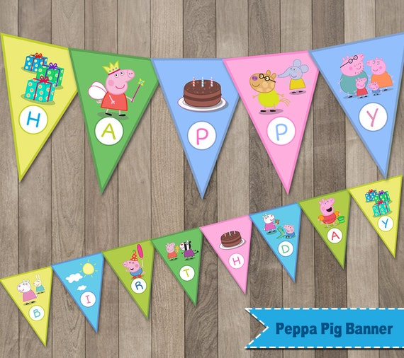 Peppa Pig Banner Peppa Pig Birthday Banner By
