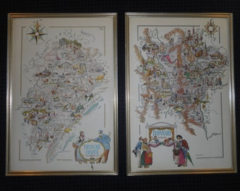 Vintage 1951 Pair of Framed Maps of Two French Provences