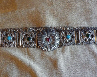 Filigree jeweled belt