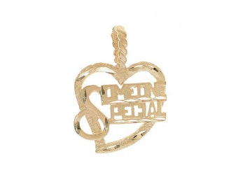"Heart Pendant ""Someone Special"" 14K Yellow Gold Diamond Cut"