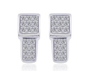 1.00 Carat Princess-Cut Quad Diamond J-Hoop Earrings 14K White Gold