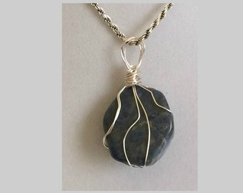 Lapis Lazuli Pendant, Handmade, Wire Wrapped Crystal (Silver Wire #2)