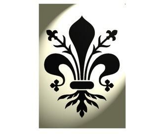 Shabby Chic stencil Vintage Fleur de lys lis Ornate A4 297x210mm French style