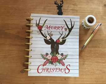 Christmas / holiday / deer / front and back cover / dashboard / happy planner  /planner supplies / planner accessories mini happy planner
