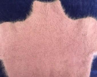 Lilac Metallic Thread Angora Turtleneck Sweater