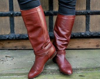 ELASTOMERE Vintage Brown Leather Boots size: UK 8 / EUR 41