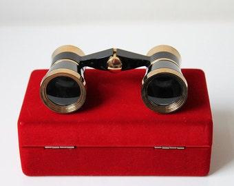 Vintage Binoculars, Old Spyglass, Brass and Black Opera Glasses, Theater Glasses