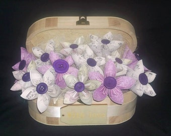 Large oval jewel box with paper origmai flowers