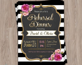 Rehersal dinner invitations, rehersal dinner invites, rehersal invitations, rehearsal invitation, Printable, Couples Shower, elegant, black