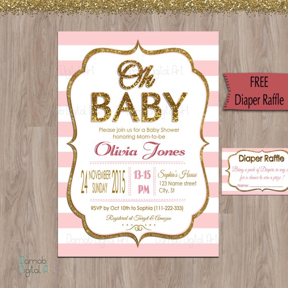 pink and gold baby shower invitation oh baby invitation oh baby