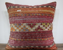 vegetable dyes embroidered Turkish kilim pillow 32x32 extra large kilim cushion cover pillowcase decorative pillow cover 32x32 SP8080-111