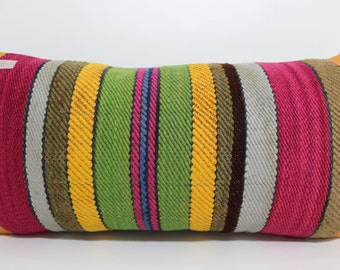 Antique Pillow 12x24 Ethnic pillow striped kilim pillow home decor multicolor pillow boho pillow throw pillow cushion cover SP3060-631