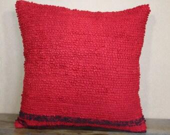 red kilim Pillow 16x16 Turkish Kilim Pillow Cushion Cover,Floor Pillow SP40-214