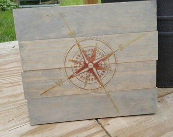 Nautical Compass Wood Sign